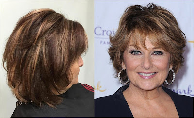 Highlighted Brown Hairstyle with Bangs - Hairstyles For Gray Hair Over 60