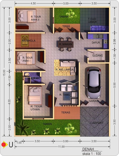 house plans 3 rooms with a land area of 100 meters