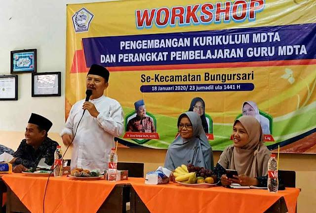 Ustadz Herman, Ketua FKDT Purwakarta apresiasi Workshop Kurikulum MDTA Bungursari