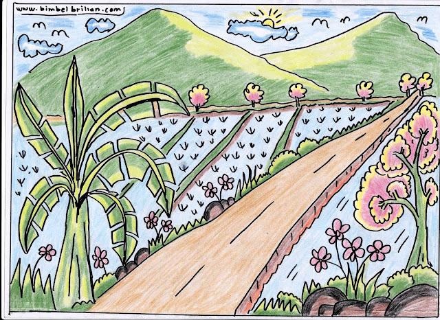 10. Gambar Jalan Persawahan, Pegunungan, Pohon Pisang