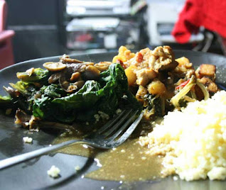 Curry Cassava Leaves Served with Ugali