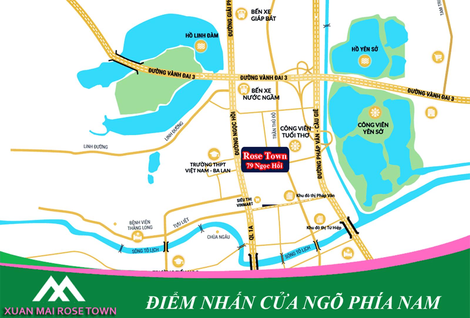 Vị trí dự án Xuân Mai Rose Town