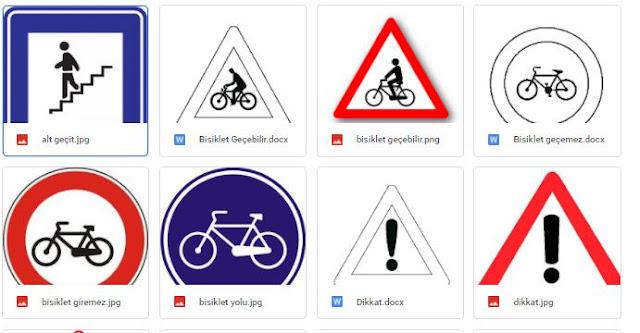 Trafik İşaretleri ve Boyama Sayfaları