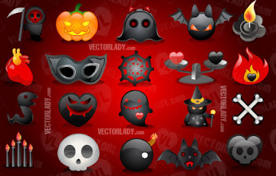 Set de iconos vectoriales alusivos a Halloween