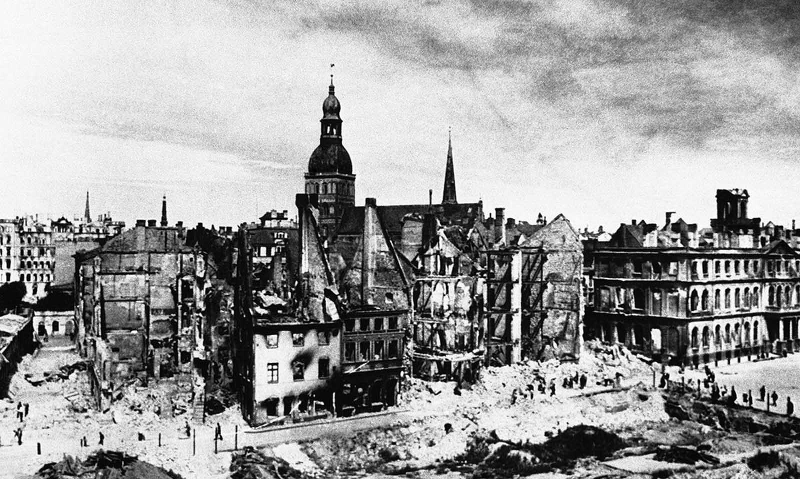 A view of the destruction in Riga, the capital of Latvia, on October 3, 1941, after the wave of war had passed over it, the Russians had withdrawn and it was in Nazi hands.