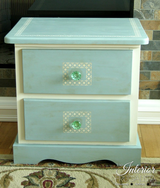 A Greek Key Stenciled Pine Night Table Makeover