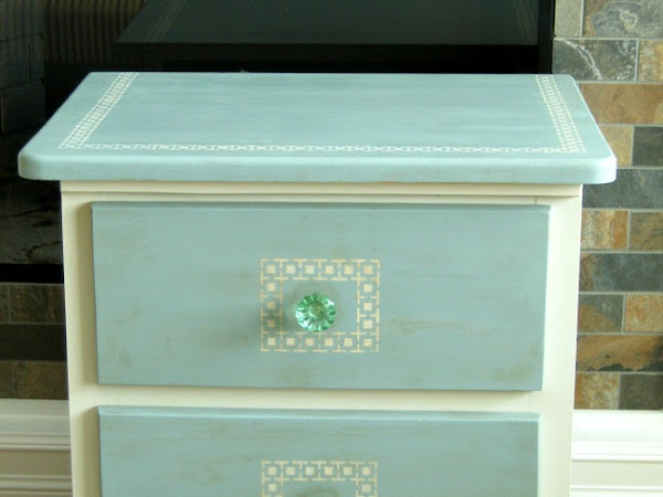 A Greek Key Stenciled Pine Beside Table Makeover