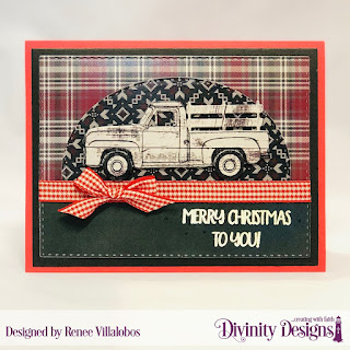 Stamp/Die Duos: Loads of Love, Paper Collection: Rustic Christmas, Custom Dies: Stitched Rectangles, Stitched Ovals, Pickup Truck