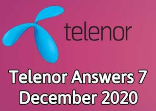 7 December Telenor Quiz | Telenor Answers 7 December 2020