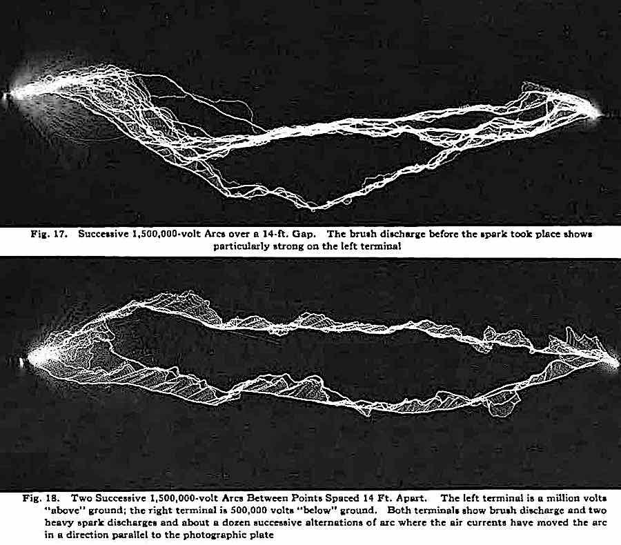 1922 photographs of Successive 1,500,000-volt arcs over a 14 foot gap