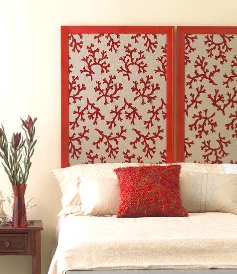 Coral Fabric Covered Headboard Panel Idea