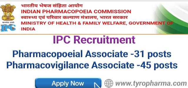 Indian Pharmacopoeia Commission Recruitment 2018 - Pharmacopoeial & Pharmacovigilance Associate job (76 Post)