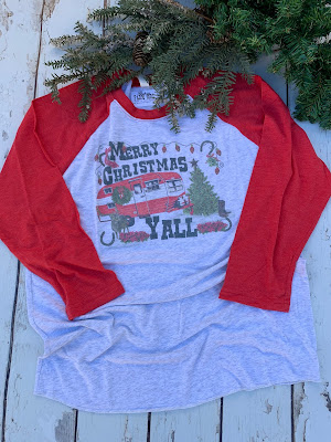 red Christmas camper tee shirt