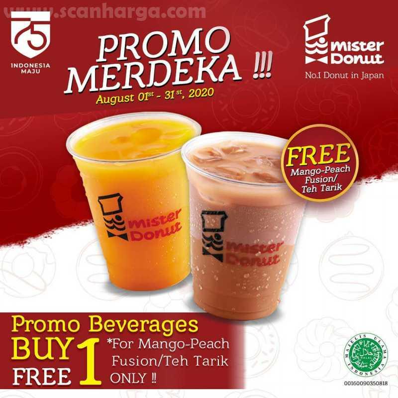 Promo Merdeka!! Mister Donut Promo Beverages Buy 1 Get 1 Free