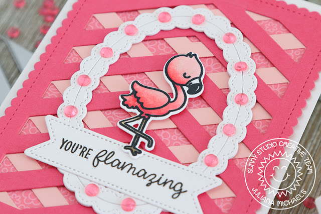 Sunny Studio Stamps: Frilly Frames Dies Fancy Frames Dies Fabulous Flamingos Happy Word Cards by Angelica Conrad and Juliana Michaels