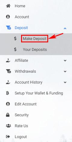 Создание депозита в Coin Biz Builder