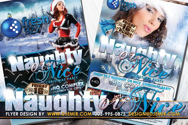 Naughty Or Nice Sexy Santa Winter Christmas Party Flyer Design Australia