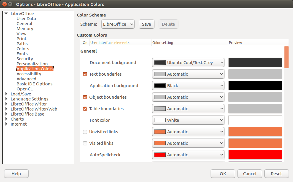 Cambiar el color de fondo y del documento en LibreOffice 5
