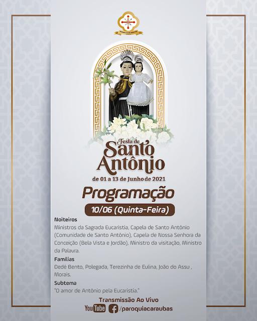 Confira a programação da festa do padroeiro do Bairro Leandro Bezerra em Caraúbas neste quinta-feira (10)