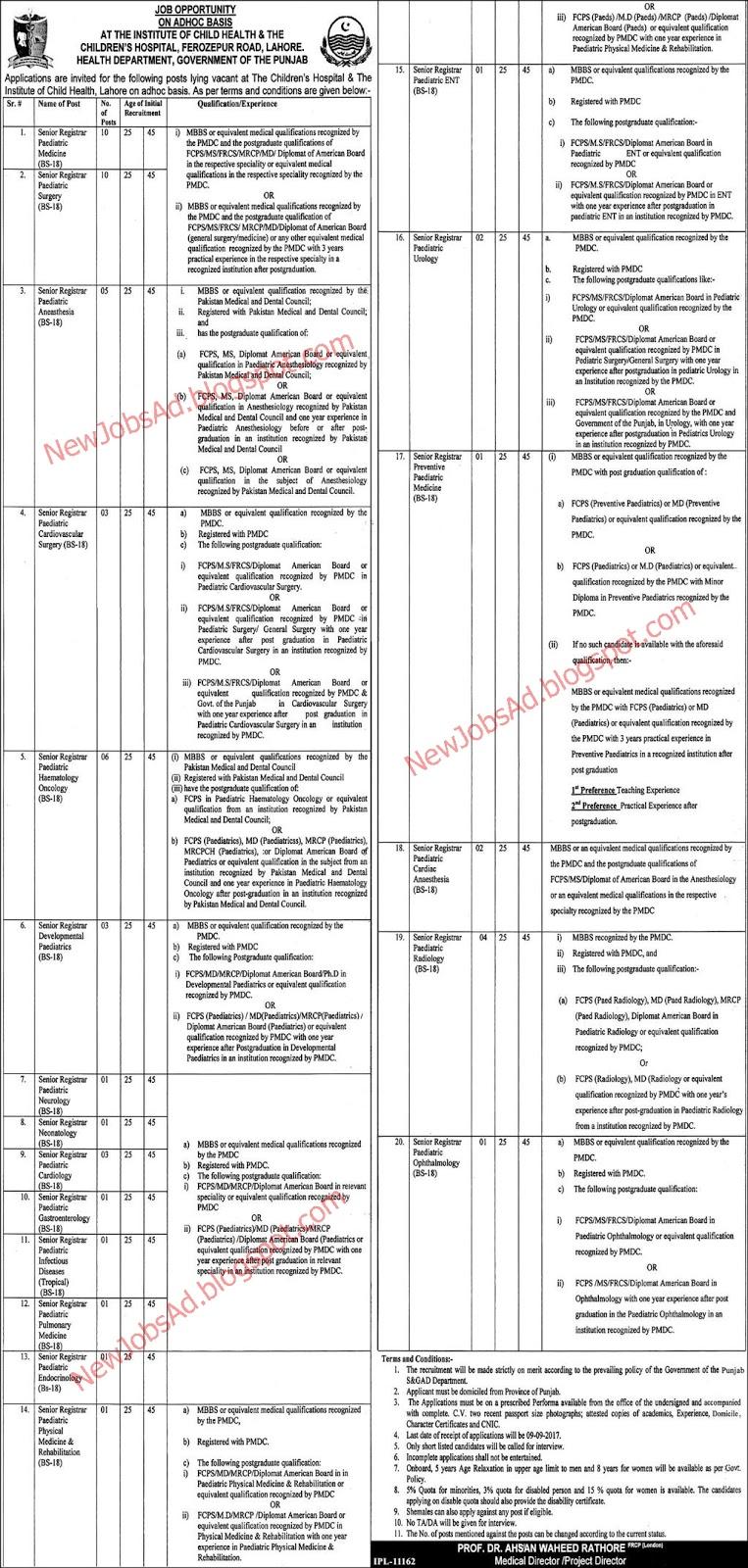 Children Hospital Lahore Jobs, Senior Registrar for Various