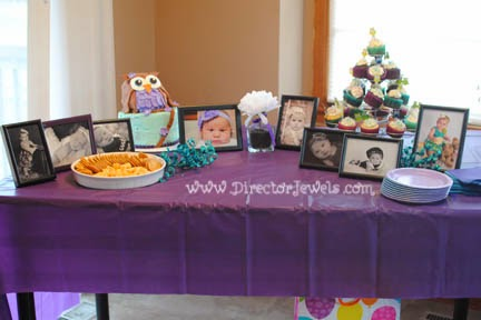 Baby Girl Purple and Teal Turquoise First Birthday Owl Party www.directorjewels.com - Party Table, Owls, Cupcakes, Cake, Cheese, Crackers, Photo Display, Cupcake Picks