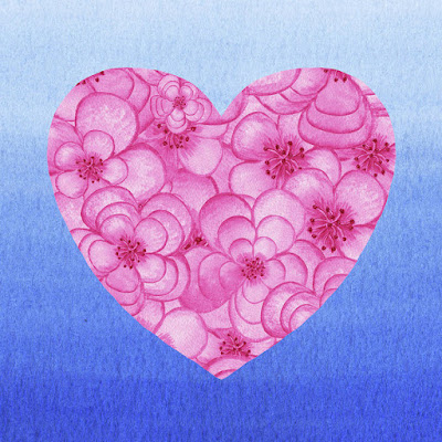 Pink Floral Heart Watercolor for bestselling merchandise