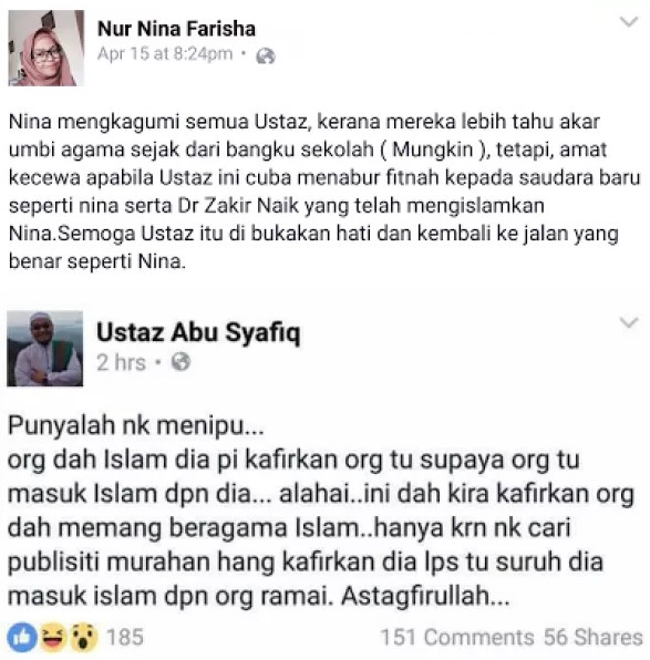 'Saya Kecewa Ustaz Ini Cuba Fitnah Saya dan Dr. Zakir Naik' – Nina