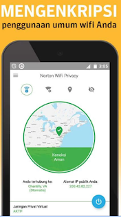 Terhubung keAplikasi Norton WiFi Privacy di android