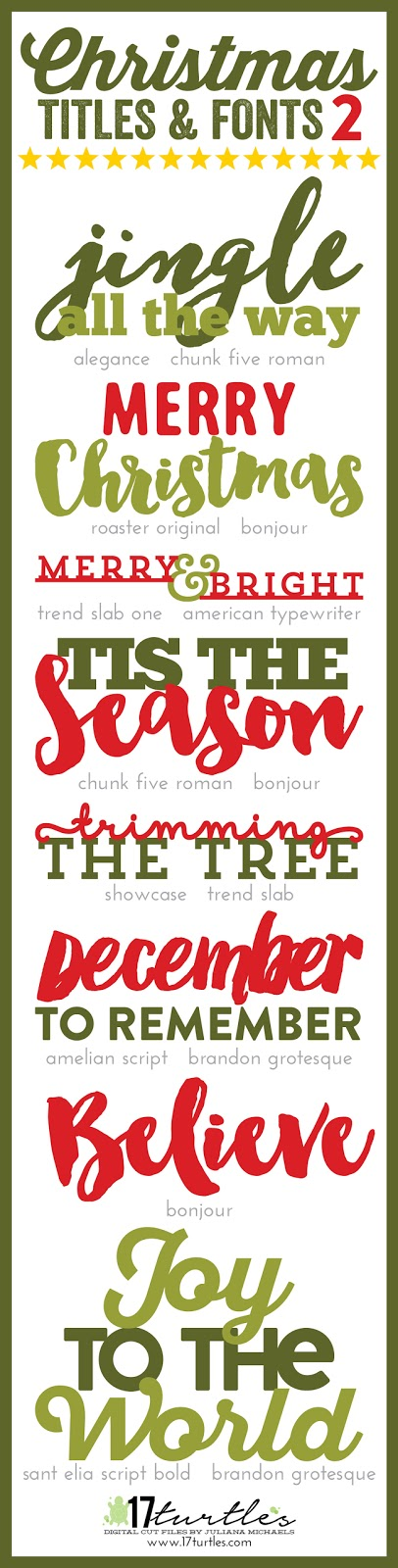 Christmas Titles and Fonts 2  by Juliana Michaels 17turtles.com