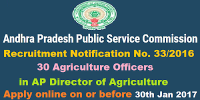 APPSC Agriculture Officer Recruitment Notification 33/2016