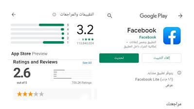 تقييم الفيسبوك بنجمة واحدة على قوقل بلاي واب ستور
