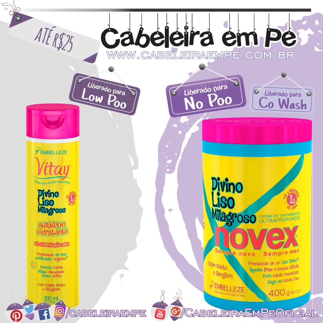 Shampoo (Low Poo) e Máscara (No Poo e Co Wash) Divino Liso Milagroso - Novex - Kit Low Poo Barato