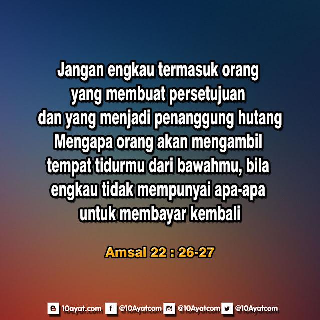 Amsal 22: 26-27