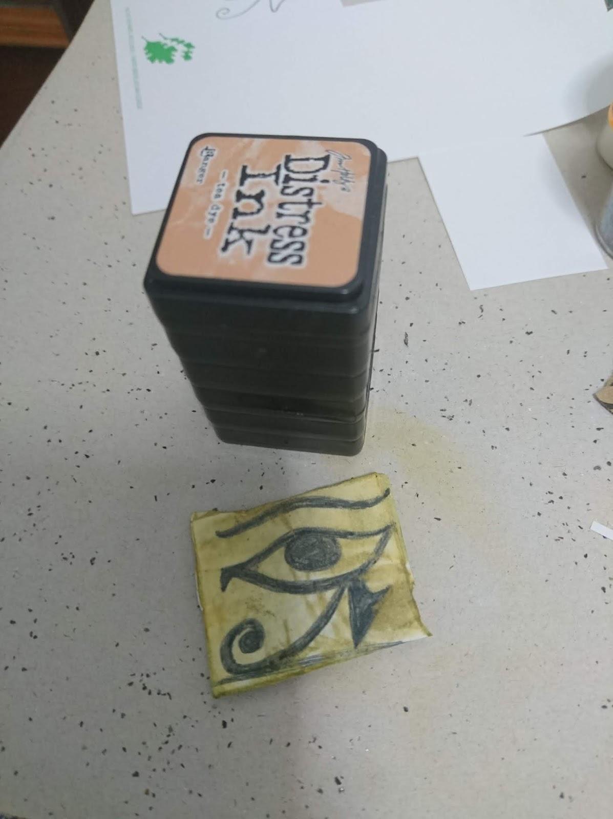 Falso adoquín creado con las tintas distress