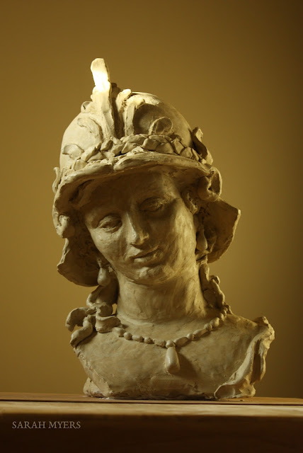 sculpture, art, artist, Minerva, Magarita, Trip, Sarah, Myers, woman, head, figurative, classic, life-size, Ferdinand, Bol, ceramic, stoneware, large, big, gentle, beauty, pearls, necklace, earrings, helmet, mythology, Athena, Pallas, eyes, bust, arte, escultura, ceramica, handwork, 3D, serene, tranquil