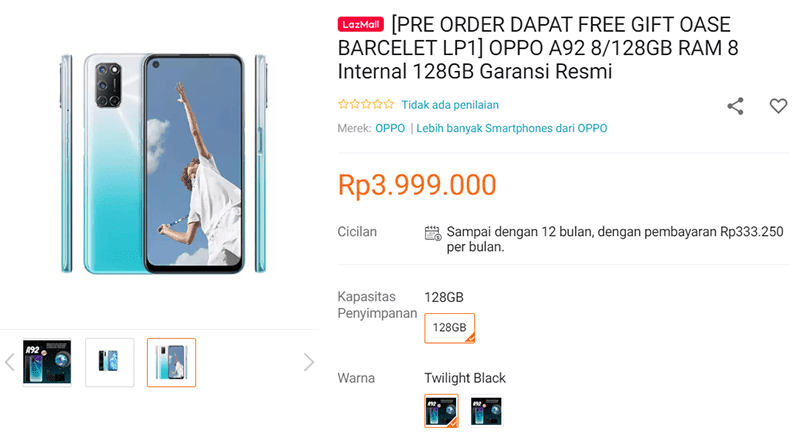 OPPO A92 Lazada Indonesia listing
