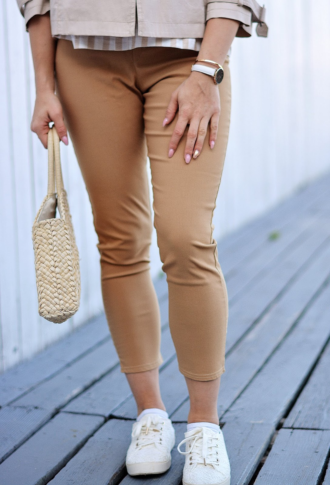 Camel High Waisted Slim Leg Trousers