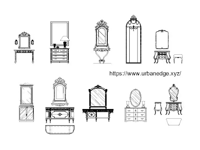 Dressing Tables (Dressers with mirrors) cad blocks download - 10+ Dressing table cad model