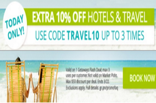 Groupon Extra 10% off Hotels and Travel Deals Promo Code
