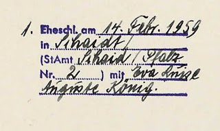 Marginal note from Jürgen Ziebell's 1906 Birth Registration gives the information for his marriage in 1959