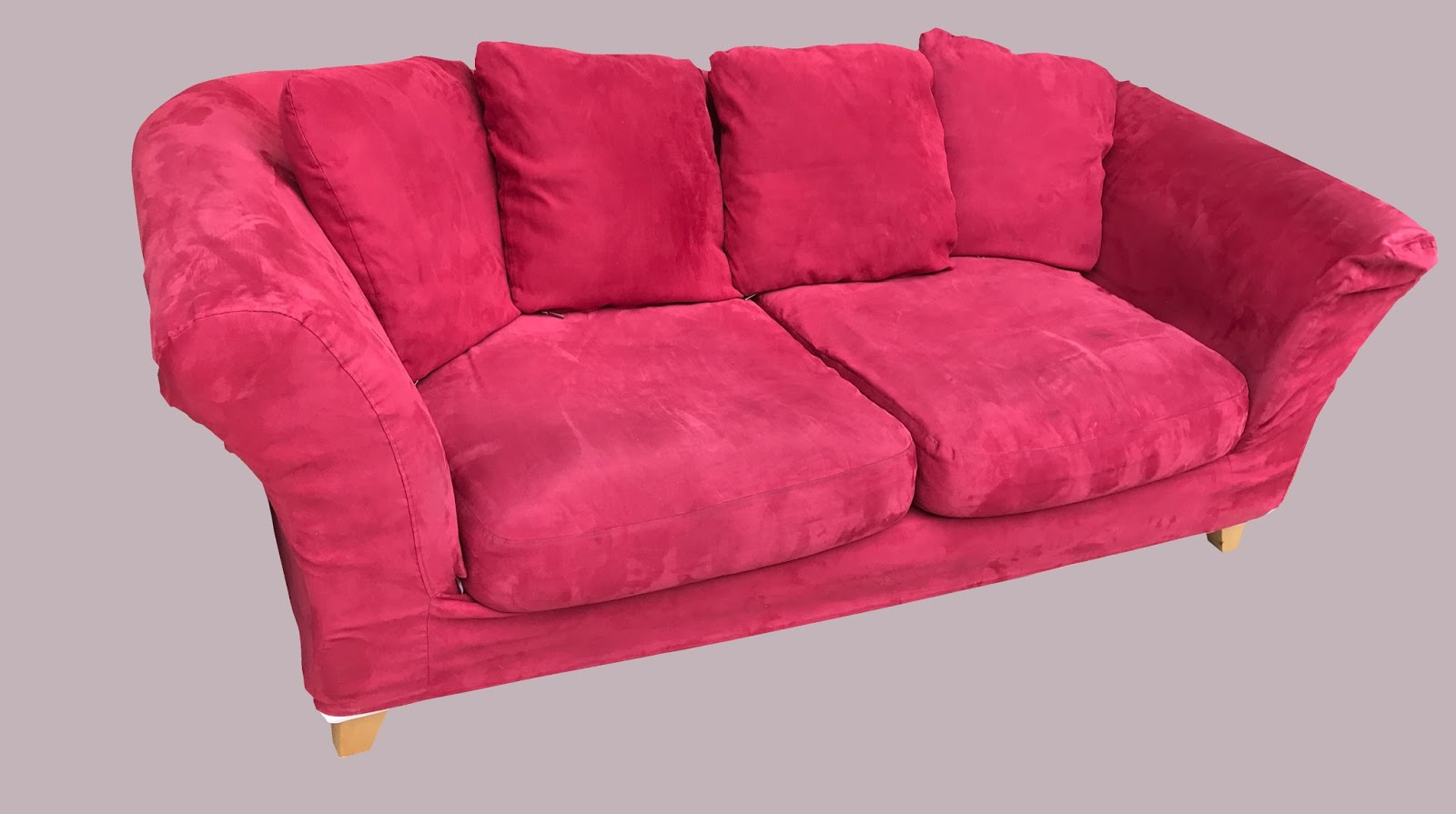 Uhuru Furniture Collectibles Red Microfiber Sofa 155