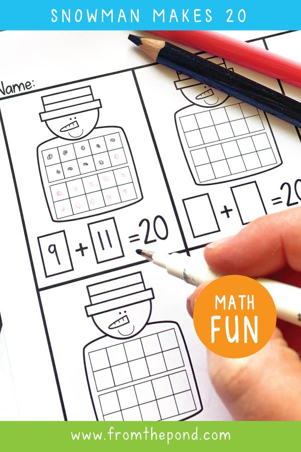 Winter Snowman Addition Math Center
