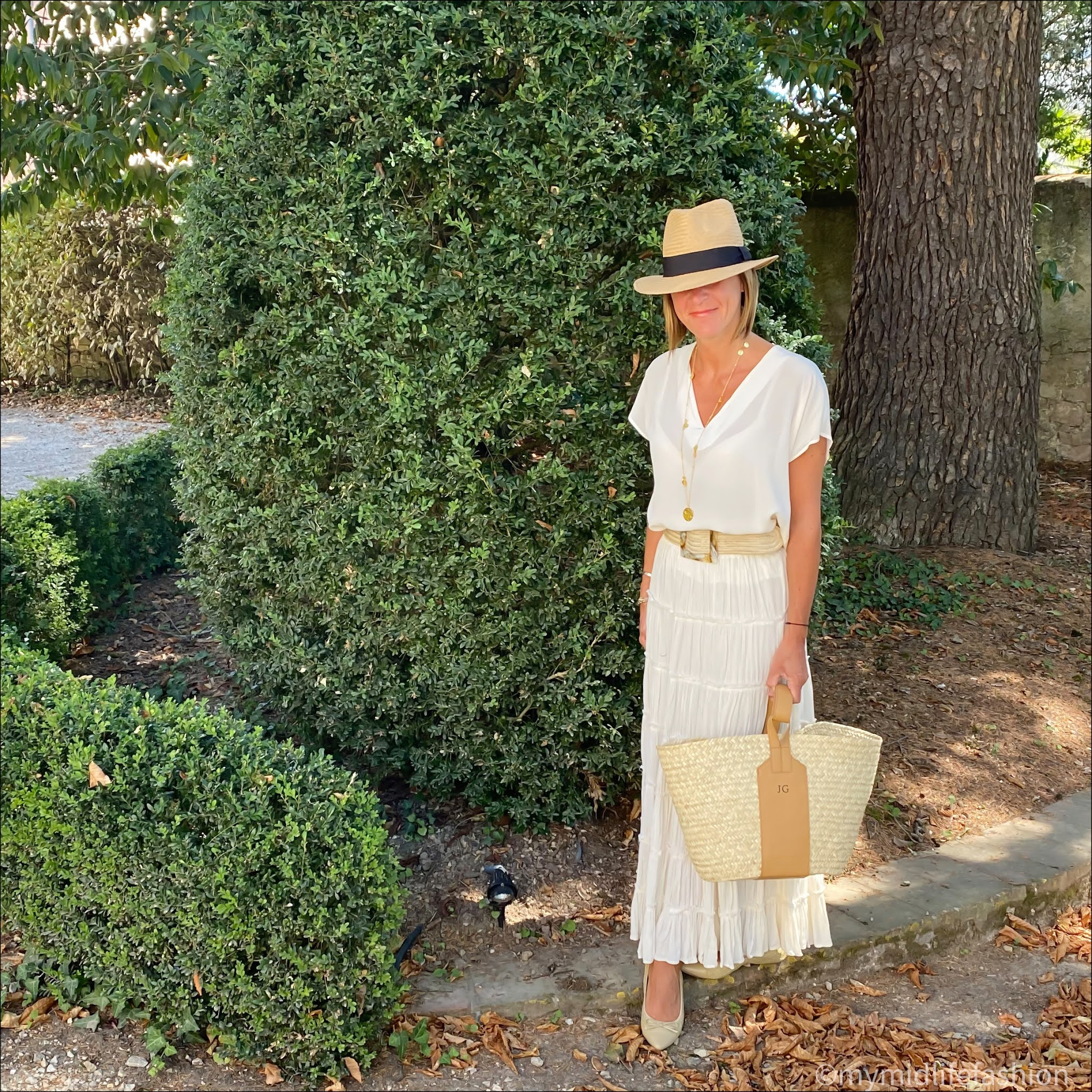 my midlife fashion, h and m Panama straw hat, Alexis silk top, ashiana gold coin necklace, rae feather grace monogrammed basket, Ralph Lauren tiered maxi skirt, butterfly twists holly ballet pumps