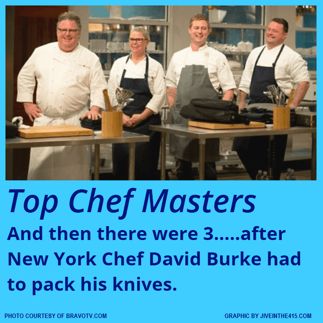 """Top Chef Masters"" Season 5 - Episode 9 ""Teacher Tribute"" was the last episode prior to the finals, and chef David Burke was eliminated. Chefs Bryan Voltaggio, Jennifer Jasinski, and Douglas Keane are headed to the finals."