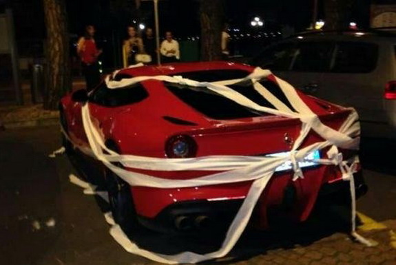 Mario Balotelli's Ferrari toilet-papered by angry fans after autograph refusal