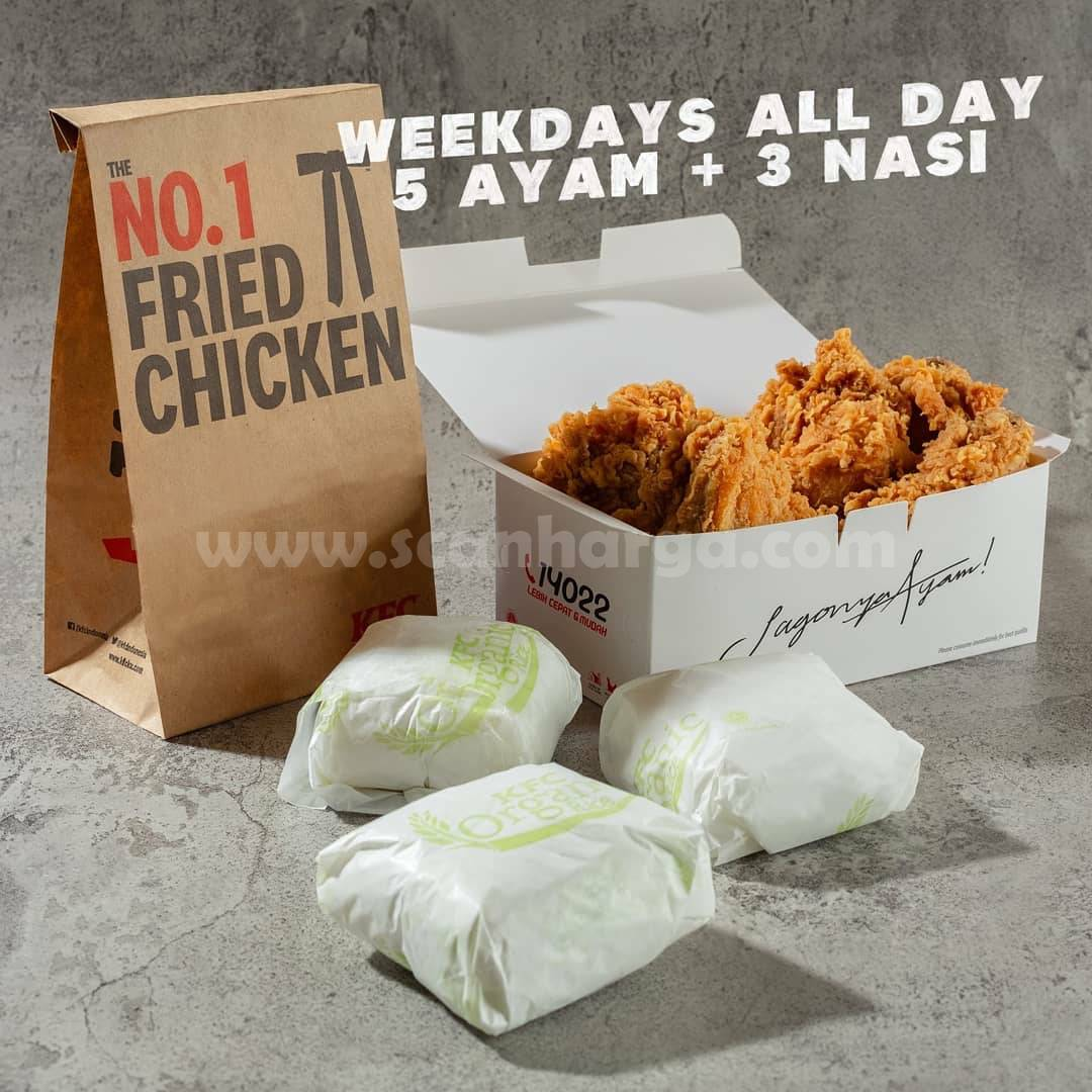 Promo KFC Weekday All Day – Paket 5 potong ayam + 3 nasi mulai Rp 68.182