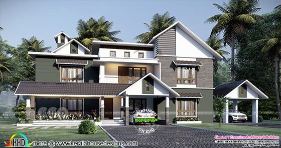 4 bedroom mixed roof style house design