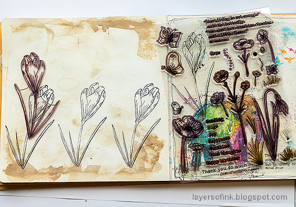 Layers of ink - Colorful Floral Crocus Tutorial by Anna-Karin Evaldsson. Stamp with Simon Says Stamp Thoughtful Flowers.