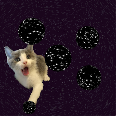 kitten in purple space with multiple universes