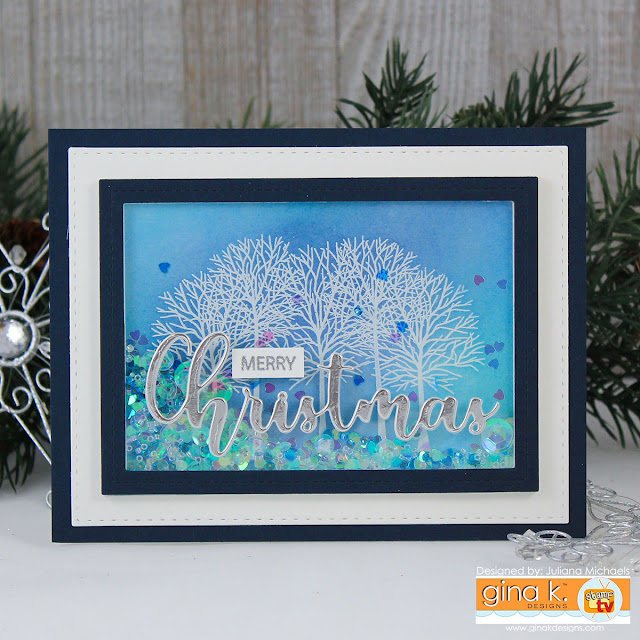 Merry Christmas Shaker Card by Juliana MIchaels featuring Gina K Designs Merry & Bright Stamp TV Kit